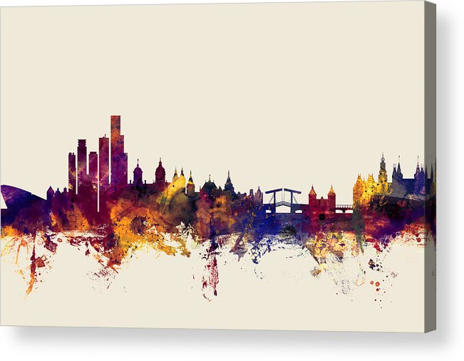 Amsterdam Acrylic Print featuring the digital art Amsterdam The Netherlands Skyline by Michael Tompsett