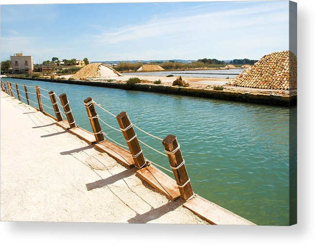 Europe Acrylic Print featuring the photograph Main Canal - Trapani Salt Flats by Kayme Clark