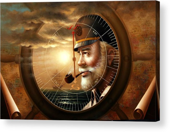 sea Captain Acrylic Print featuring the painting News Map Captain 1 Or Sea Captain by Yoo Choong Yeul