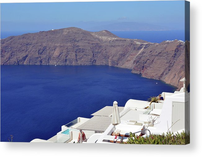 Santorini Acrylic Print featuring the photograph 28.09.2016 Photography Of Traditional And Famous Houses And Churches With Blue Domes Over The Calder by Oana Unciuleanu