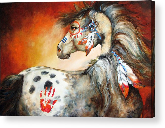 Horse Acrylic Print featuring the painting 4 Feathers Indian War Pony by Marcia Baldwin