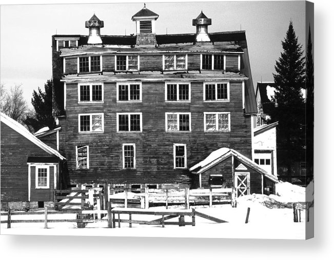 Acrylic Print featuring the photograph 4 Story Barn In Winter by Roger Soule