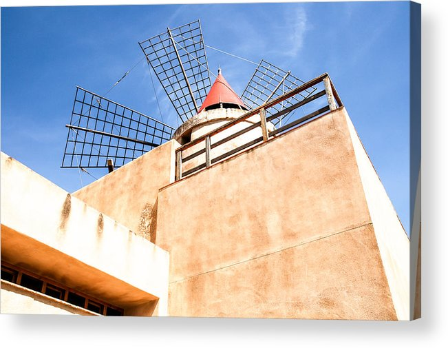 Europe Acrylic Print featuring the photograph Windmill - Trapani Salt Flats by Kayme Clark