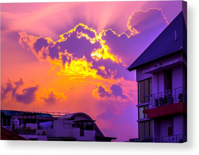 Apartment Acrylic Print featuring the photograph Sunset by Jijo George