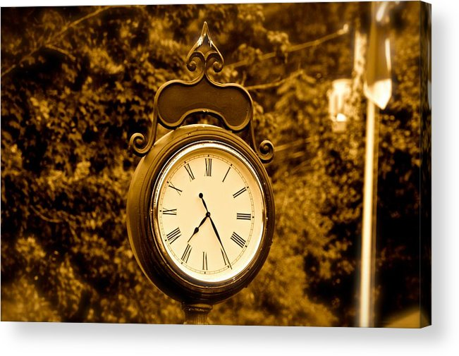 Lake Lure Nc Clock Acrylic Print featuring the photograph Lake Lure Nc by Frank Conrad