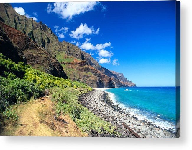 Blue Acrylic Print featuring the photograph Na Pali Coast by Peter French - Printscapes