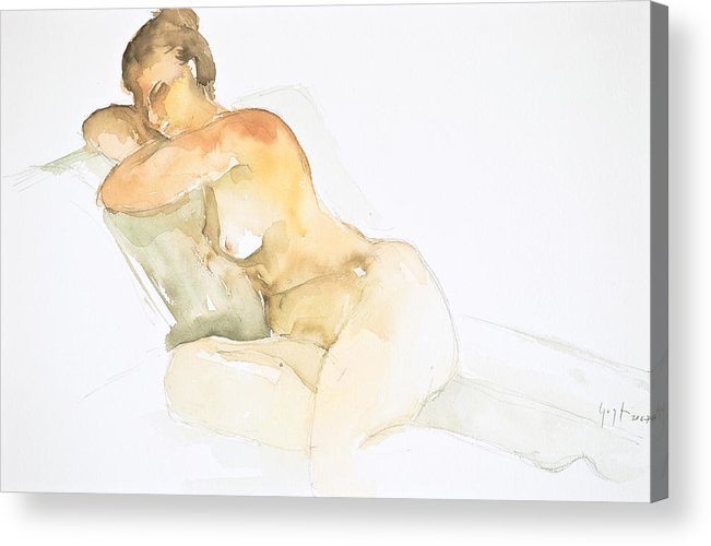 Acrylic Print featuring the painting Nude Series by Eugenia Picado
