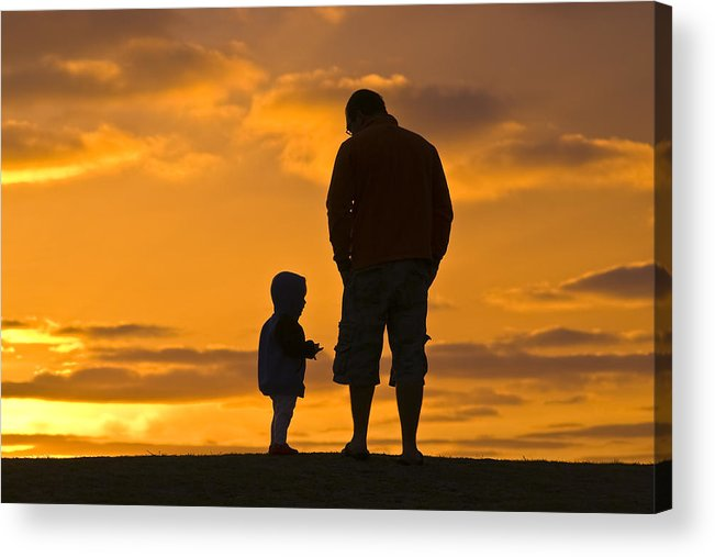 Outdoors Acrylic Print featuring the photograph A Father And His Baby Son Watch by Jason Edwards