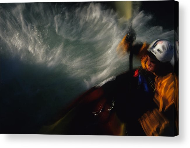 Action Acrylic Print featuring the photograph A Kayaker Negotiates Rapids by Bobby Model