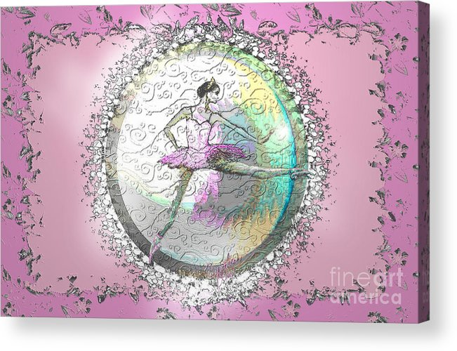 Ballet Acrylic Print featuring the digital art A La Second Pink Variation by Cynthia Sorensen