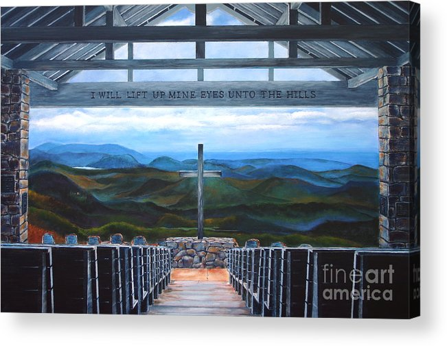 A Pretty Place Acrylic Print featuring the painting A Pretty Place / Symmes Chapel by AWellsArtworks Fine Art