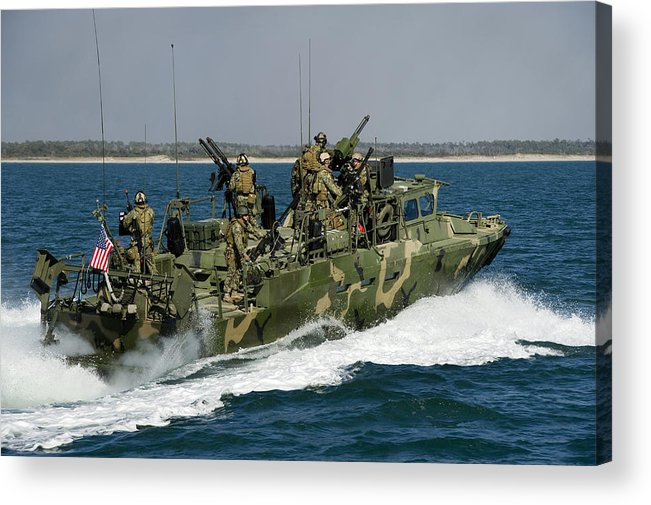 Men Acrylic Print featuring the photograph A Riverine Command Boat Conducts by Stocktrek Images
