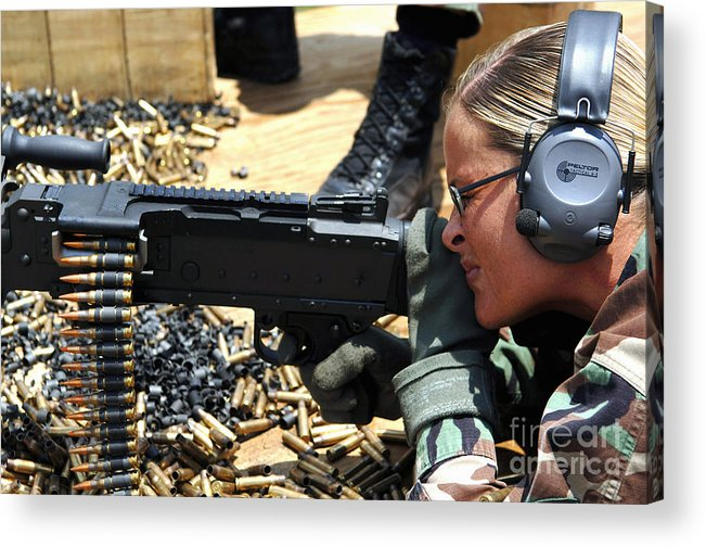 Color Image Acrylic Print featuring the photograph A Soldier Fires An M240b Medium Machine by Stocktrek Images