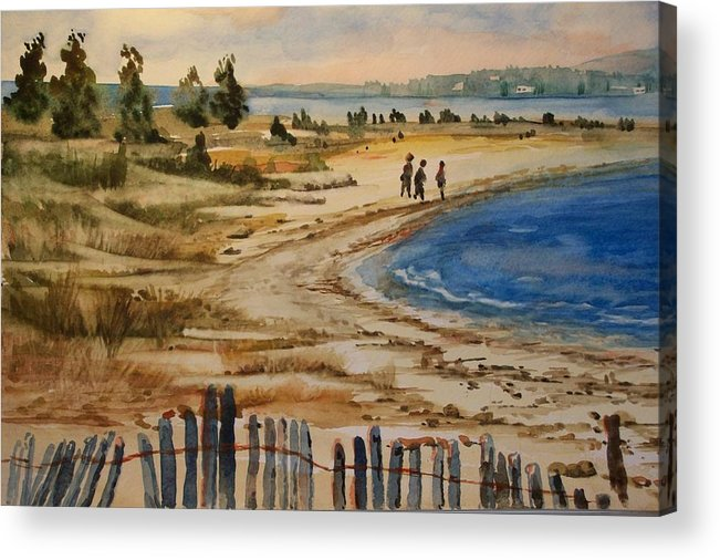 Beach Acrylic Print featuring the painting A Walk By The Seashore by Siona Koubek
