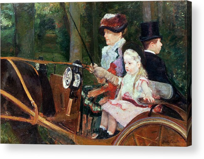 Woman Acrylic Print featuring the painting A Woman And Child In The Driving Seat by Mary Stevenson Cassatt