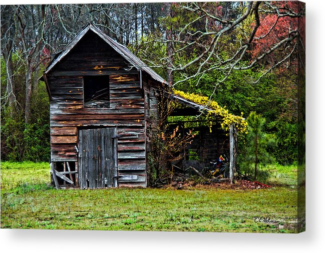 Barn Acrylic Print featuring the photograph A Yellow Cover by Christopher Holmes