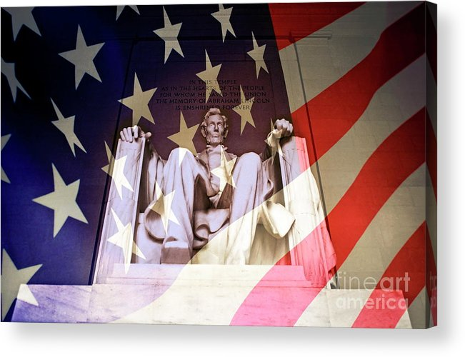Authority Acrylic Print featuring the photograph Abraham Lincoln Memorial Blended With American Flag by Sami Sarkis