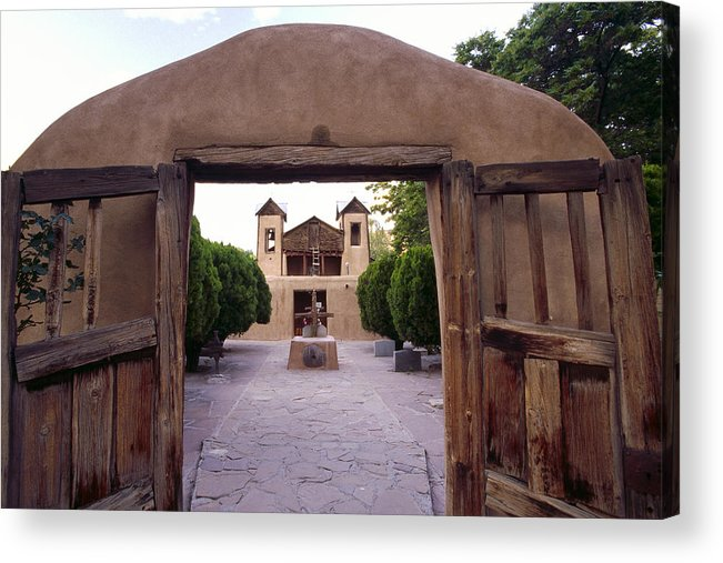 Adobe Acrylic Print featuring the photograph Adobe Gates by George Oze