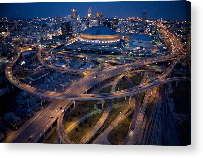 Night Acrylic Print featuring the photograph Aerial Of The Superdome In The Downtown by Tyrone Turner