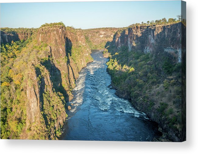 Africa Acrylic Print featuring the photograph Aerial View Of Sunlit Rapids In Canyon by Ndp