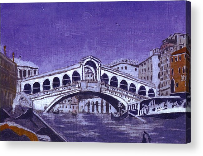 Landscape Acrylic Print featuring the painting After Canal Grande With The Rialto Bridge by Hyper - Canaletto