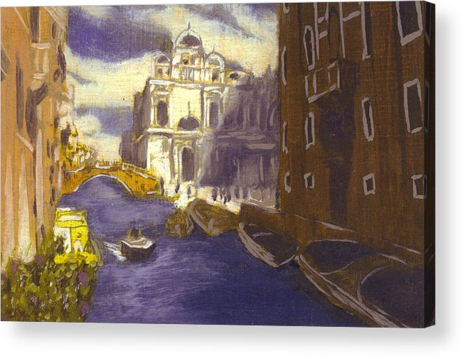 Landscape Acrylic Print featuring the painting After Church Of Santi Giovanni E Paolo With The School Of St. Mark by Hyper - Canaletto