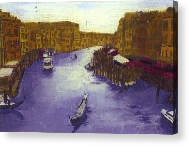 Landscape Acrylic Print featuring the painting After The Grand Canal From The Rialto Bridge by Hyper - Canaletto