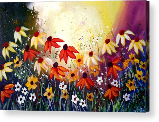 Flowers Acrylic Print featuring the painting After The Rain by Luiza Vizoli