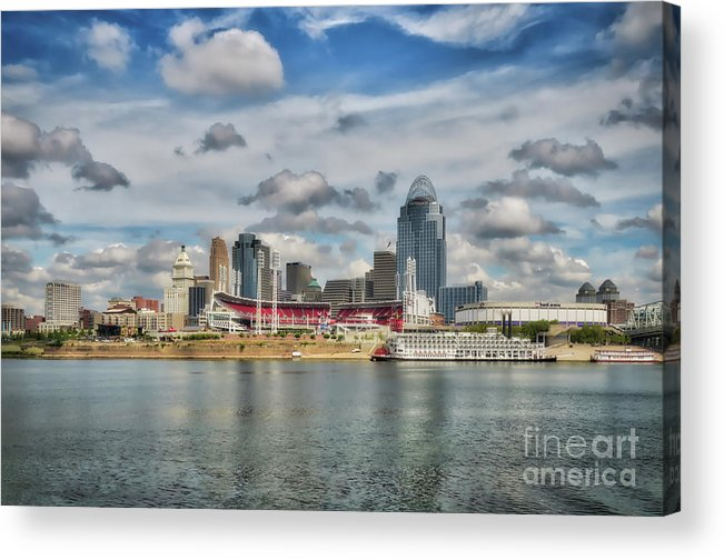 Cincinnati Acrylic Print featuring the photograph All American City 2 by Mel Steinhauer