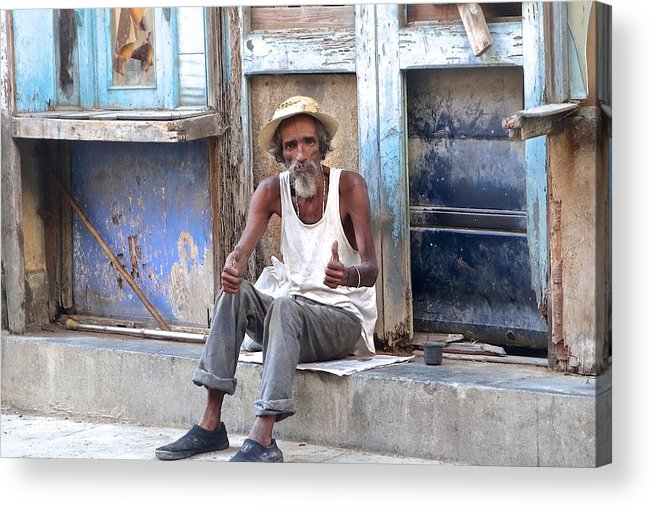 Cuba Acrylic Print featuring the photograph All Is Well With Thumbs Up by Robert Mepham