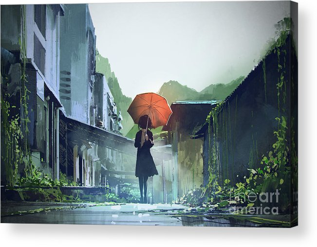 Illustration Acrylic Print featuring the painting Alone In The Abandoned Town by Tithi Luadthong
