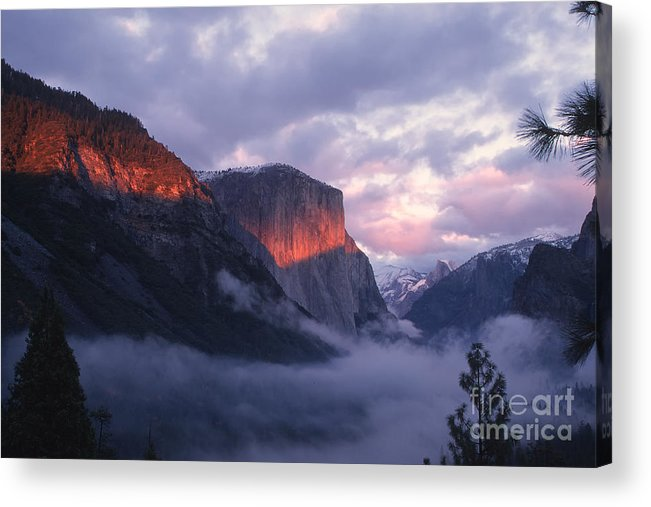 Yosemite Acrylic Print featuring the photograph Alpen Glow On El Capitan by Stan and Anne Foster
