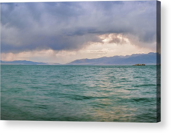 Air Acrylic Print featuring the photograph Amazing View Of Azure Sky Over Rippled Surface Of Cold Sea At Sunrise by Oleg Yermolov