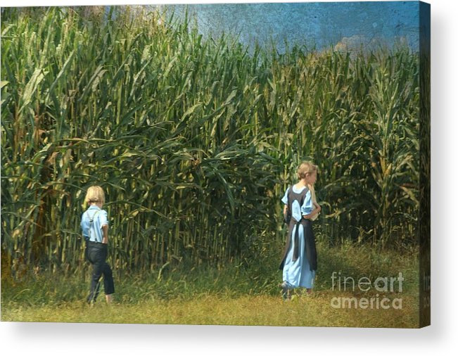 Amish Acrylic Print featuring the photograph Amish Siblings In Cornfield by Beth Ferris Sale