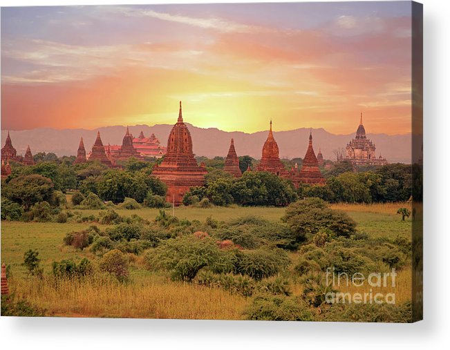 Burma Acrylic Print featuring the photograph Ancient Pagodas In The Countryside From Bagan In Myanmar At Suns by Nisangha Ji