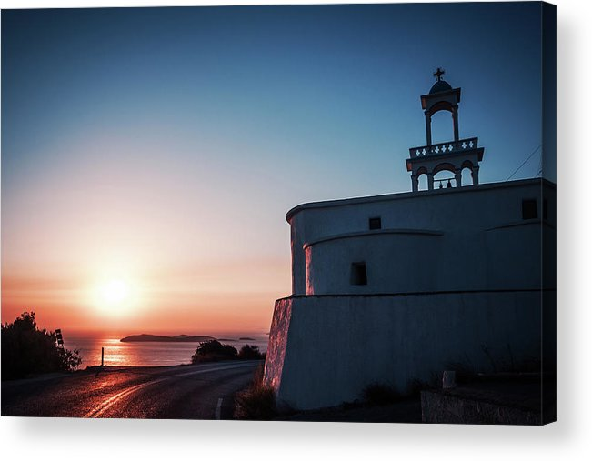 Andros Acrylic Print featuring the photograph Andros Island Sunset - Greece by Alexander Voss