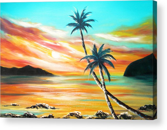 Sunset Acrylic Print featuring the painting Another Sunset In Paradise by Gina De Gorna