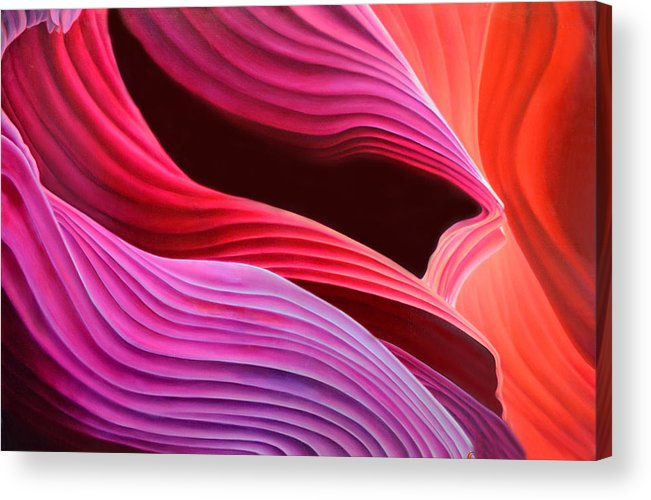 Antelope Canyon Acrylic Print featuring the painting Antelope Waves by Anni Adkins
