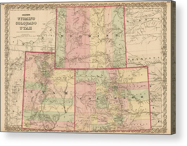 Antique Map - Colton\'s Wyoming Colorado And Utah 1876 Acrylic Print