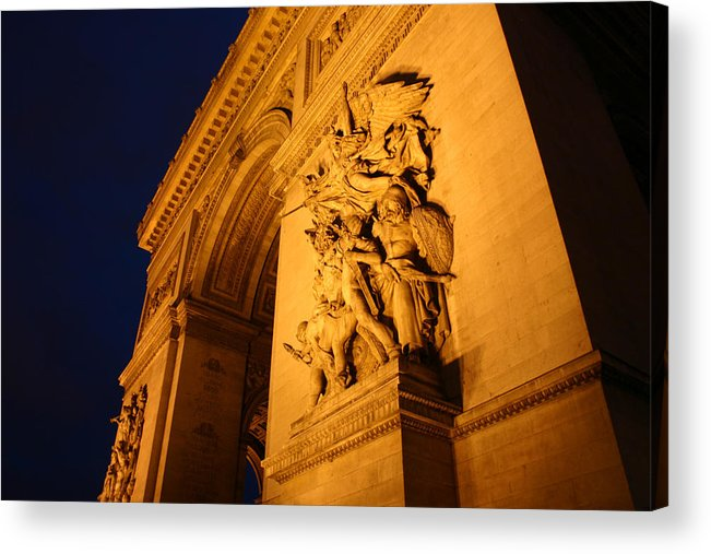 Digitial Photography Acrylic Print featuring the photograph Arc De Triomphe At Night by Jennifer McDuffie