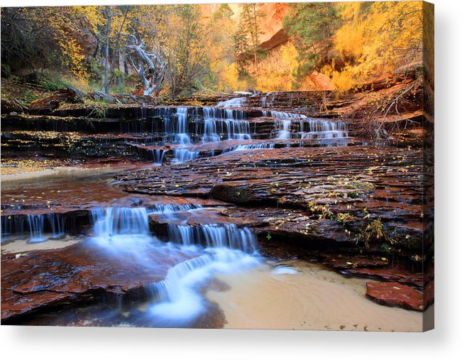 Zion Acrylic Print featuring the photograph Arch Angel Waterfalls In Zion by Pierre Leclerc Photography