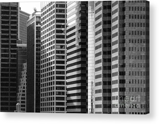 New York City Acrylic Print featuring the photograph Architecture Nyc Bw by Chuck Kuhn