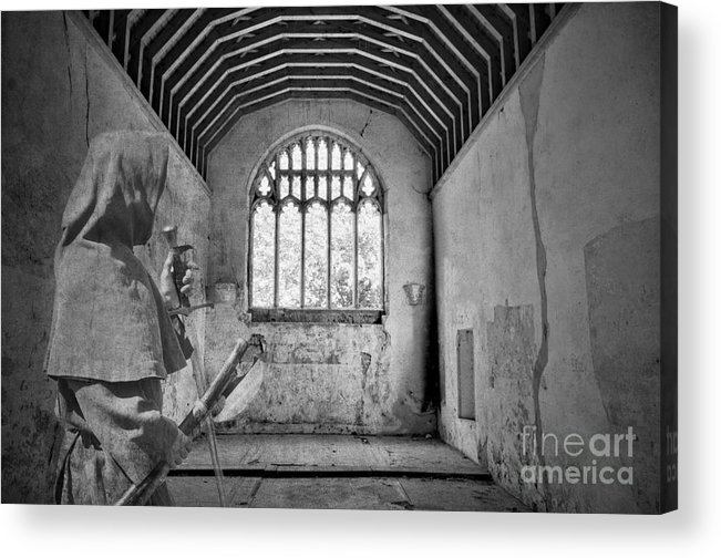 Monk Acrylic Print featuring the photograph Armed Monk Mono by Steev Stamford