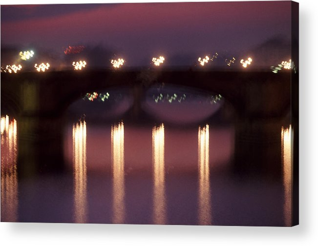 Bridge Acrylic Print featuring the photograph Arno River Reflections by Brad Rickerby
