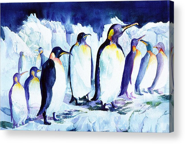 Penquins Acrylic Print featuring the painting Arctic Penquins by Connie Williams