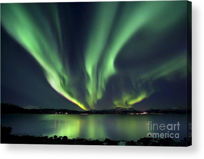 Aurora Borealis Acrylic Print featuring the photograph Aurora Borealis Over Tjeldsundet by Arild Heitmann
