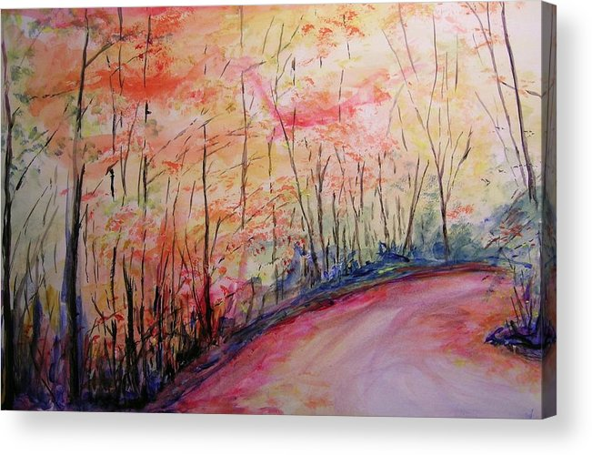Landsape Acrylic Print featuring the painting Autumn Lane II by Lizzy Forrester