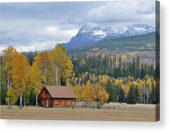 Glacier Acrylic Print featuring the photograph Autumn Mountain Cabin In Glacier Park by Bruce Gourley
