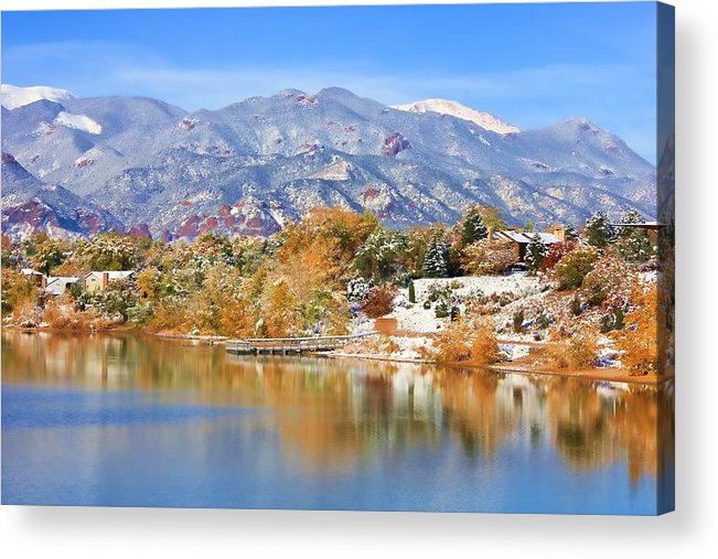 Landscape Acrylic Print featuring the photograph Autumn Snow At The Lake by Diane Alexander