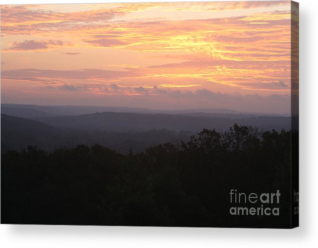 Sunrise Acrylic Print featuring the photograph Autumn Sunrise Over The Ozarks by Nadine Rippelmeyer
